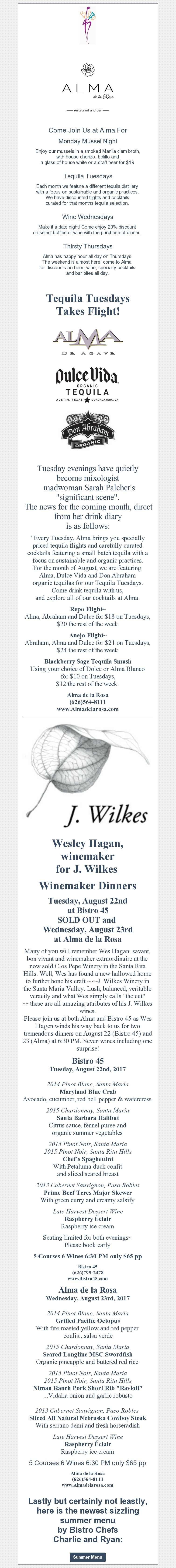 J. Wilkes Wine Dinner Tomorrow at Alma